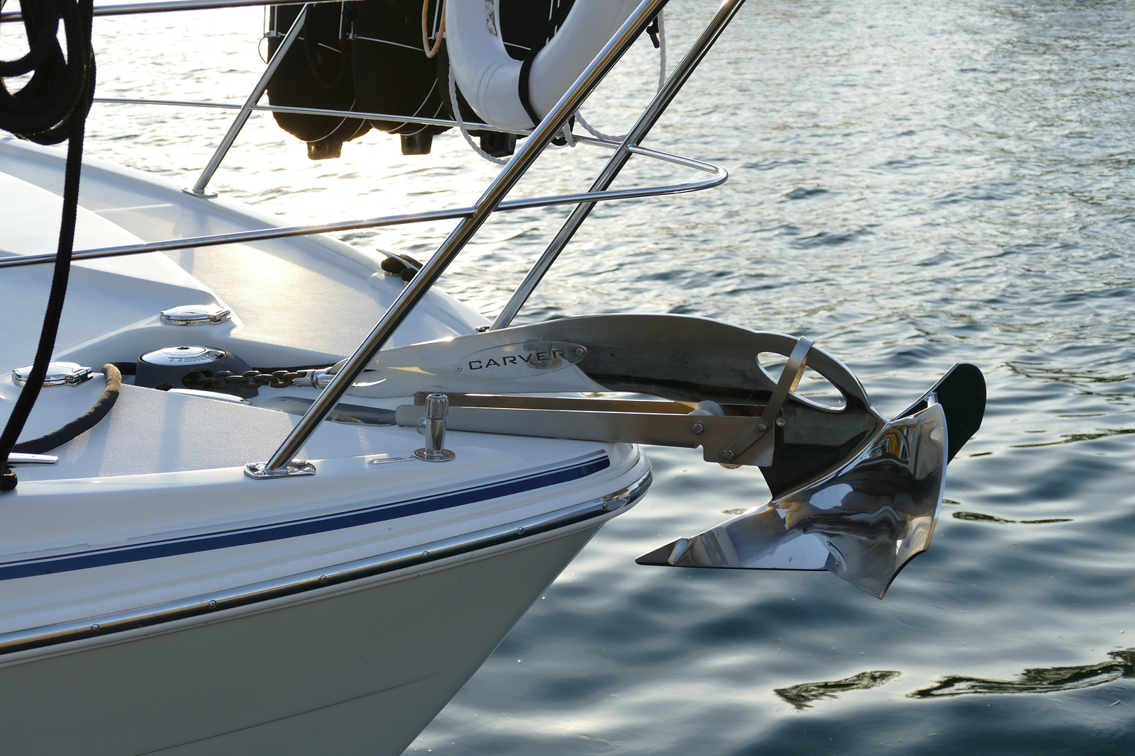 Chrome Polished 33lb Carver Anchor. Also have a 25lb Mantus anchor for the rear.