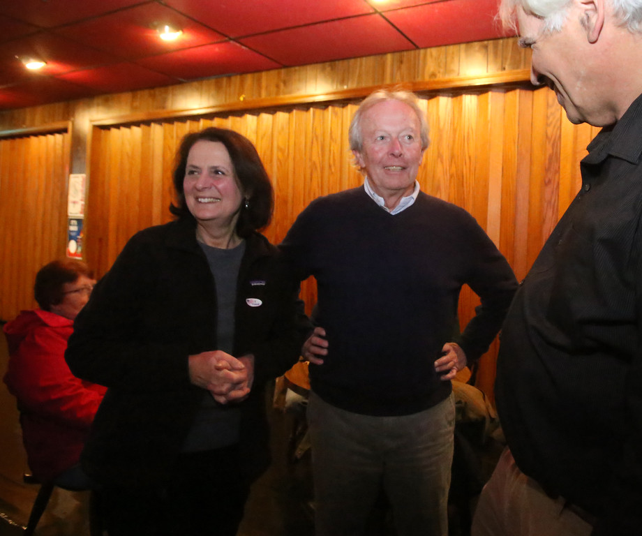 . Lowell city councilor Edward Kennedy and supporters wait for election results in his state senate race, at Cappy\'s Copper Kettle. Edward Kennedy with his wife Susan, and Geoffrey Feldman of Lowell, right, who worked on the campaign. (SUN/Julia Malakie)