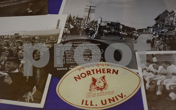 "Northern Illinois University's Regional History Center is featuring the exhibit, ""Homecoming: 111 Years Strong,"" at Founders Memorial Library. The exhibit showcases items from the University Archives related to NIU's homecoming through the years, including photographs, pennants, banners, posters, yearbooks, pom-poms and the 2015 homecoming queen's tiara."