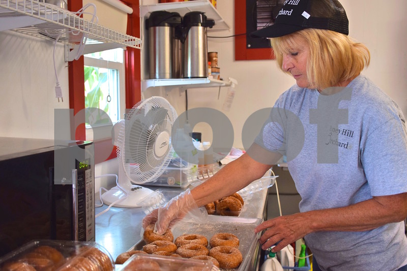 Katrina J.E. Milton - kmilton@shawmedia.com<br /> Kathy Bock, owner of Honey Hill Orchard, 11783 Waterman Road in Waterman, boxes freshly made apple cider doughnuts to be sold on the orchard's opening day, Aug. 31.