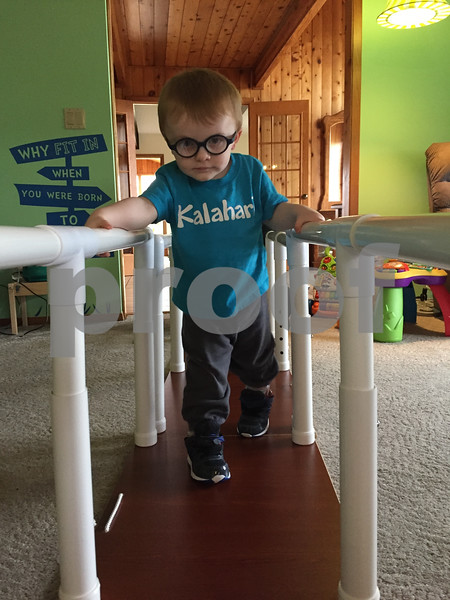 Two-year-old Clark Cutler of Malta, pictured practicing walking, has been diagnosed with Pelizaeus-Merzbacher disease, a type of leukodystrophy. Because of his young age, it is unknown whether Clark will be able to walk or talk, but his family travels with him to Indiana and Chicago to see doctors and specialists and he attends physical, occupational and speech therapies. He also attends hippotherapy, or therapy on horseback, at Heightened Potential Co. in Kirkland.