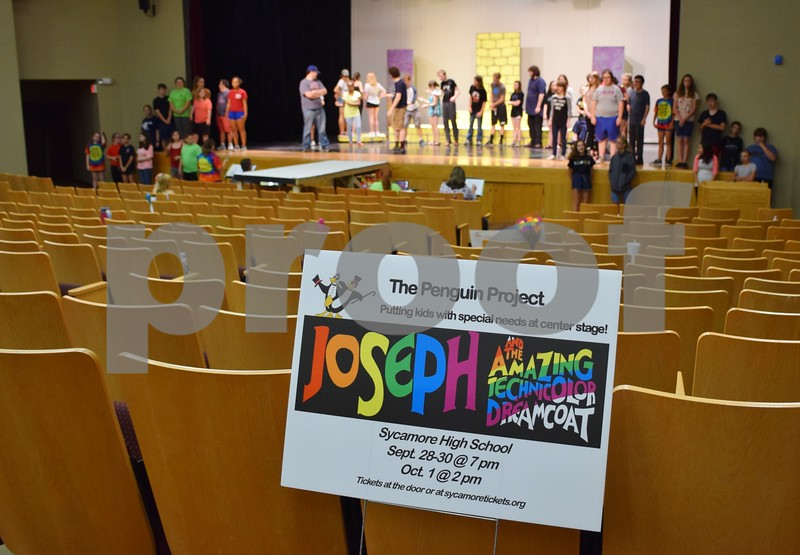 """Cast members of Children's Community Theater's Penguin Project production of """"Joseph and the Amazing Technicolor Dreamcoat"""" rehearse on Sept. 22 at Sycamore High School. The musical will be performed Thursday, Sept. 28, through Sunday, Oct. 1."""