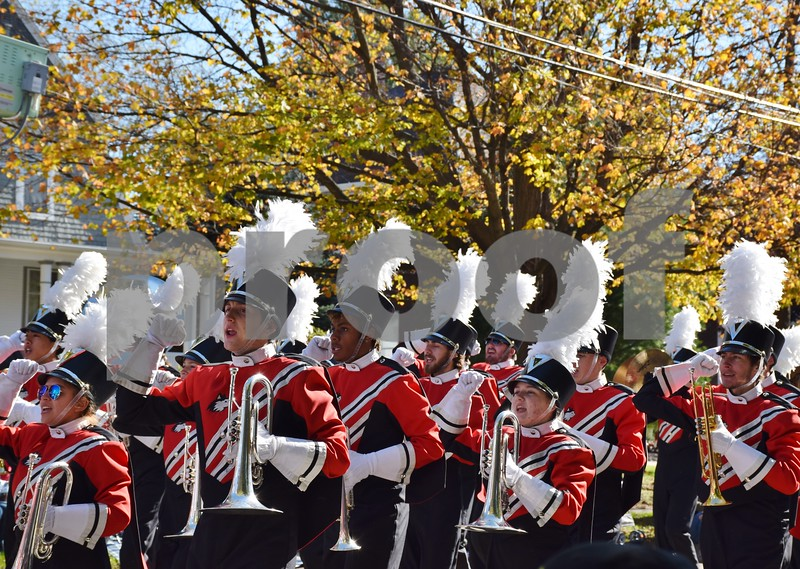 The NIU Huskie Marching Band performs during the 56th annual Sycamore Pumpkin Festival Parade on Sunday.