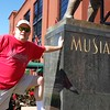 JT at the base of the Stan Musial statue at Busch Stadium