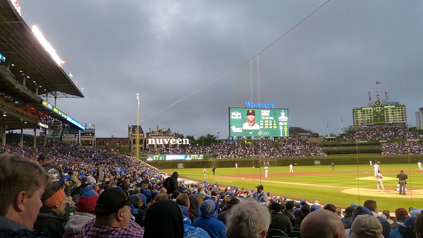Left field view of Wrigley Field