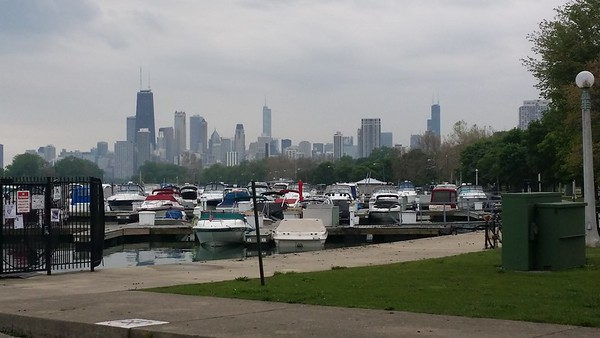 Chicago skyline during our bike tour
