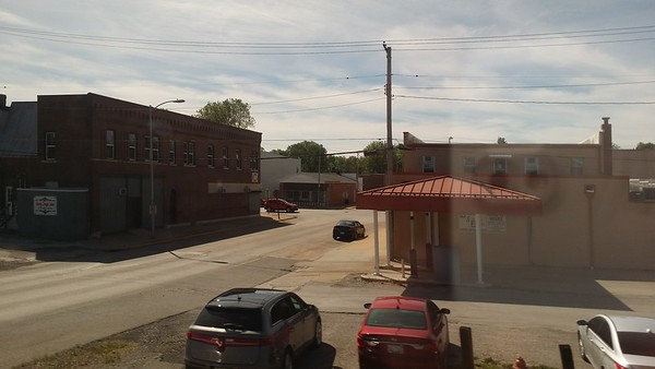 View of the thriving metropolis of Nilwood IL from the train on the way from St. Louis to Chicago