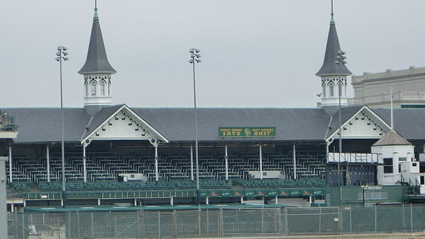 "The famous ""Twin Spires"" at Churchill Downs race track"