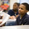 Sixth grader, Kyran, listens to a classmate.