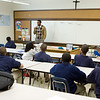Founding faculty member Mr. Quincy Jones teaches his sixth-grade social studies class.