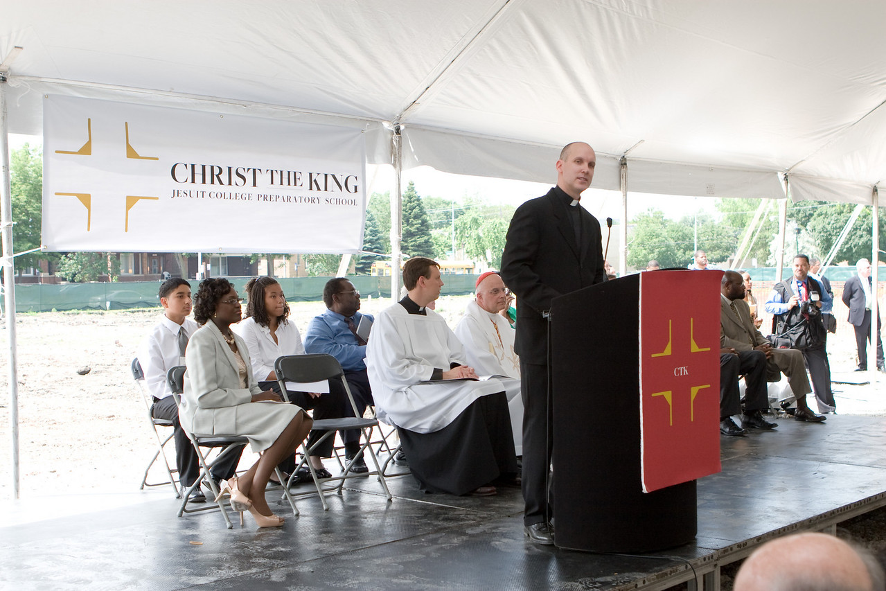 "Fr. Chris Devron, SJ, president of Christ the King,  in his welcome speech expressed gratitude to all those in attendance, including all of the Cardinal Francis George, Mayor Richard Daley, the Superintendent of Schools for the Archdiocese, the board of trustees, school administration, faculty, and staff, and of course, the incoming class of 2012. ""Today, it is the power of hope that breaks ground to create Christ the King,"" said Rev. Christopher Devron, Christ the King College Prep."