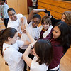 Students participate in team-building exercises.