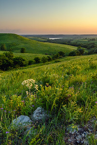 Golden hour at the Flint Hills of Kansas.  Tuttle Creek Lake is seen in the distance.