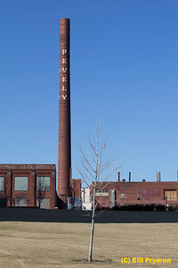 Smokestack, old Pevely Dairy on campus of St. Louis University