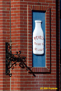 Wall inset to right of entrance of administration building, old Pevely Dairy on campus of St. Louis University