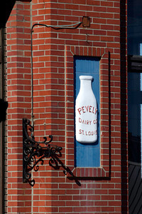 Right Milk bottle in the facade of the old Pevely Dairy building on Grand Blvd.