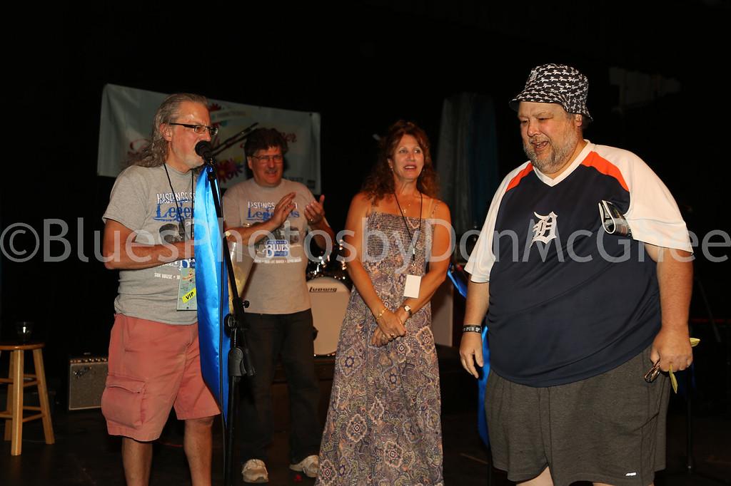 Mike Rembor, Steve Soviak, Mrs. Mike Linsley<br /> winner of 4 tickets to Buddy Guy concert