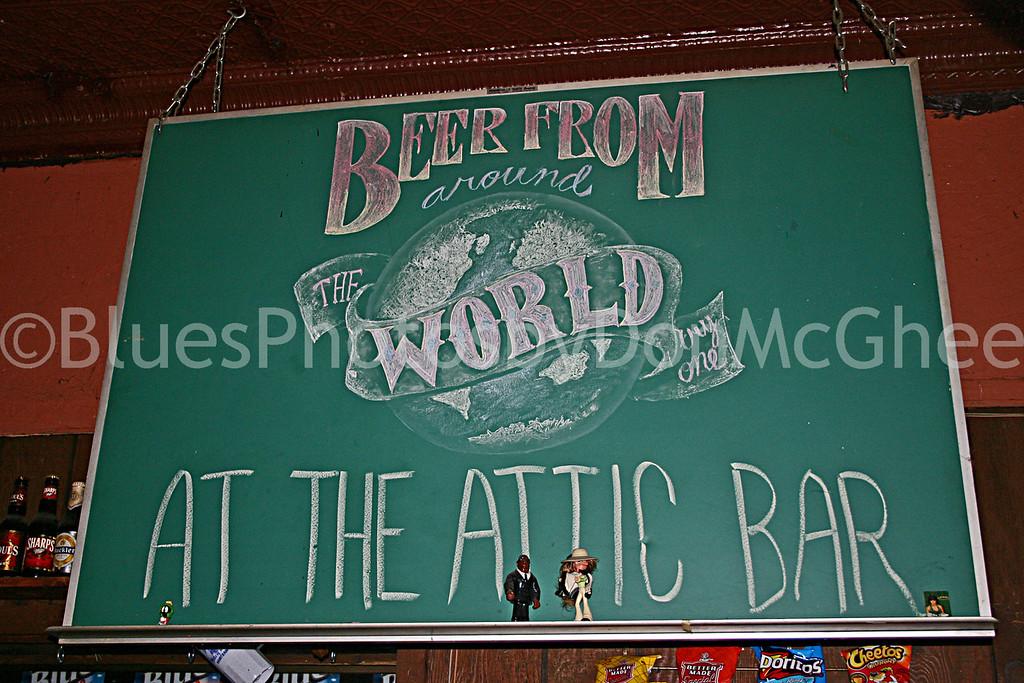 Attic Bar - sign behind bar 2005