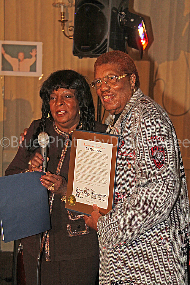 Martha Reeves presents Sir Mack Rice w/ Detroit City Council Testimonial Resolution on his 75th Birthday