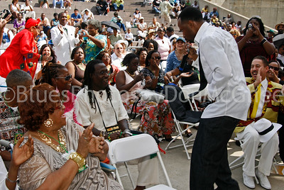 "Alberta Adams & singer Thornetta Davis & James ""Jamalot Indeed"" Anderson wedding 8-17-2008 Hart Plaza Detroit"