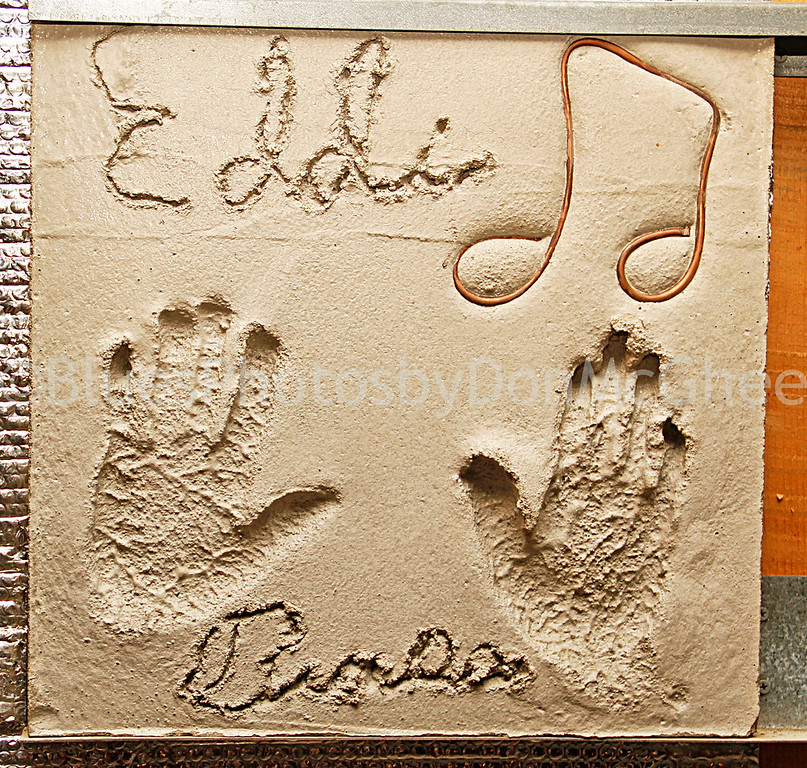 Eddie  Burns, hand print and signature in concrete<br /> Hastings Street Ballroom, Detroit MI