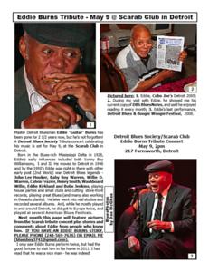 May 2015 Eddie Burns Tribute - May 9 @ Scarab Club in Detroit