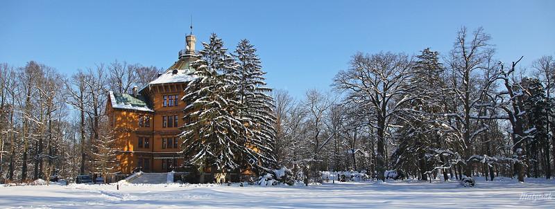 Pałac w Antoninie w zimowym anturażu
