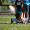 7 year old Tegan Truax explodes off the ground from a push up during a drill at the Mike Austin Memorial Football Camp which is free to all boys and girls between the ages of 5 and 14 at the Leominster Pop Warner football field on July 31, 2017.  Mike Austin passed away earlier this year leaving behind 35 plus years of dedication to a number of youth athletic programs in Leominster.  SENTINEL & ENTERPRISE JEFF PORTER