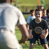 kids practice lateral movements at one of the stations at the Mike Austin Memorial Football Camp which is free to all boys and girls between the ages of 5 and 14 at the Leominster Pop Warner football field on July 31, 2017.  Mike Austin passed away earlier this year leaving behind 35 plus years of dedication to a number of youth athletic programs in Leominster.  SENTINEL & ENTERPRISE JEFF PORTER