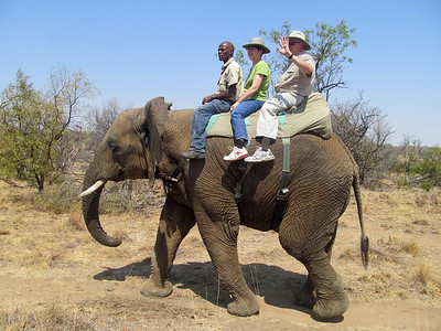 Mike and Nancy riding the elephant in South Africa