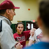 Fitchburg High pitcher Kammarie Pelland listens in to coach, and father, Mike Pelland, during practice on Friday, March 24, 2017. SENTINEL & ENTERPRISE / Ashley Green