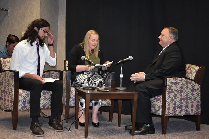 Secretary of State Mike Pompeo sat down with Collegian reporters Pete Loganbill and Kaylie McLaughlin on Sept. 6, 2019 after he gave a Landon Lecture. His lecture focused on unalienable rights. (Bailey Britton | Collegian Media Group)