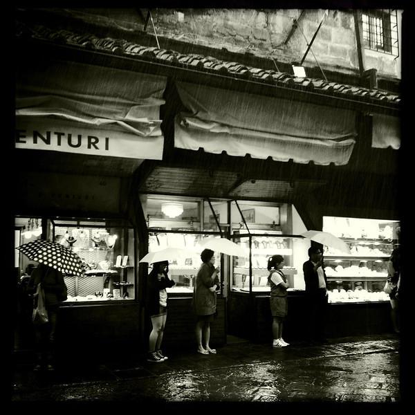 Ponte Vecchio in the rain, Florence, June 7, 2011.
