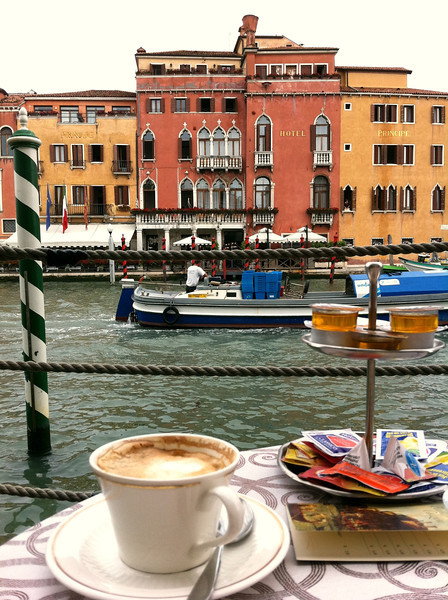 Breakfast on the deck at the hotel, Venice, June 11, 2011.