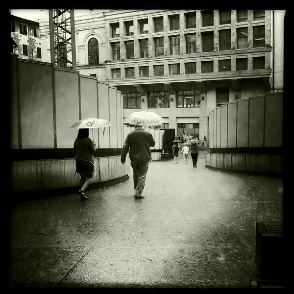 Leaving the Uffizi in the rain, Florence, June 8, 2011.