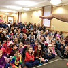 Mike Dorval of Northboro known as Mike the Bubbleman visited the Leomisnter Public Library on Saturday, January 5, 2019 to a packed house of kids and parents. Everyone watches as he hangs a bubble from his hand during his show. SENTINEL & ENTERPRISE/JOHN LOVE
