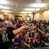 Mike Dorval of Northboro known as Mike the Bubbleman visited the Leomisnter Public Library on Saturday, January 5, 2019 to a packed house of kids and parents. Syier Faison, 6, of Fitchburg learns how to catch a bubble without popping it during the show. SENTINEL & ENTERPRISE/JOHN LOVE