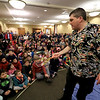 Mike Dorval of Northboro known as Mike the Bubbleman visited the Leomisnter Public Library on Saturday, January 5, 2019 to a packed house of kids and parents. Mike does some tricks with the bubbles as he talks about them. SENTINEL & ENTERPRISE/JOHN LOVE