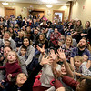 Mike Dorval of Northboro known as Mike the Bubbleman visited the Leomisnter Public Library on Saturday, January 5, 2019 to a packed house of kids and parents. Kids reach for some bubbles as they passes over them during the show. SENTINEL & ENTERPRISE/JOHN LOVE