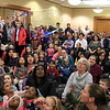 Mike Dorval of Northboro known as Mike the Bubbleman visited the Leomisnter Public Library on Saturday, January 5, 2019 to a packed house of kids and parents. Some of the audience members try and keep this bubble in the air by blowing at it during the show. SENTINEL & ENTERPRISE/JOHN LOVE