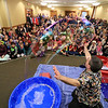 Mike Dorval of Northboro known as Mike the Bubbleman visited the Leomisnter Public Library on Saturday, January 5, 2019 to a packed house of kids and parents. Mike makes a big bubbles to show the kids and parents that they can see a rainbow in it. SENTINEL & ENTERPRISE/JOHN LOVE