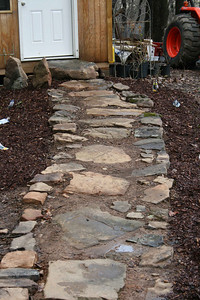 Path to tool shed by garden area - March.