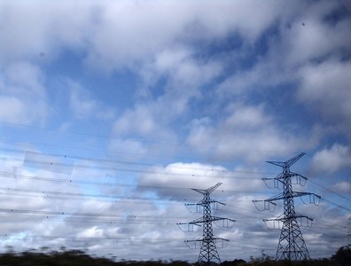 Train - Power Lines and Sky