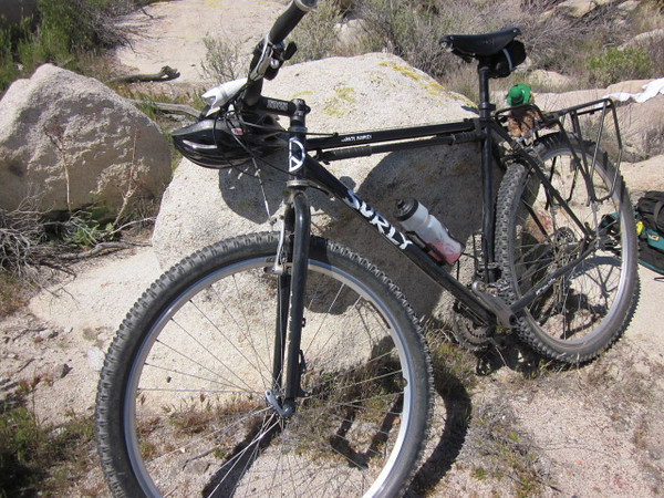 Karate Monkey, heavy metal, XL frame rigid, should have put shocks on it. Hard to control and dodge holes or ruts when pointing a 30 lb bike. Crashed and hurt shoulder again in Carrizo Gorge.