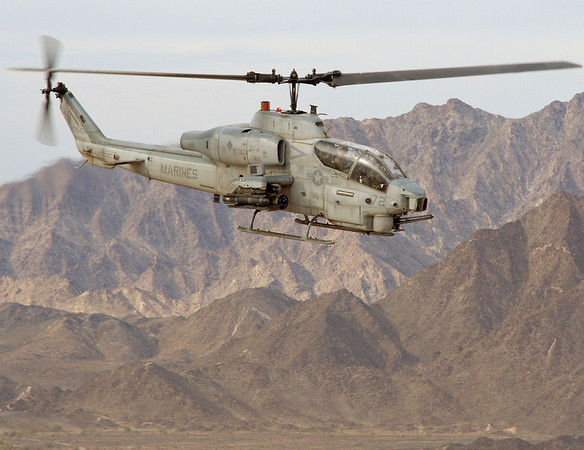 AH-1W Cobra prepares to engage targets during Weapons and Tactics Instructor course 2-07 near Yuma, AZ.  This aircraft is participating in the Urban CAS phase of training during WTI 2-07.