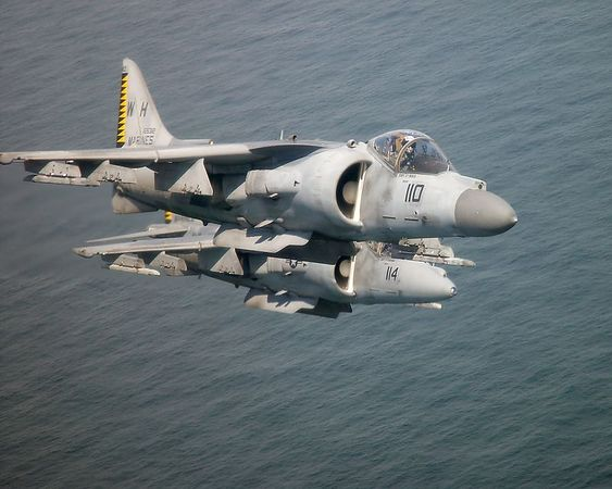 2 AV-8B Harriers from VMA-542 over the Atlantic Ocean.