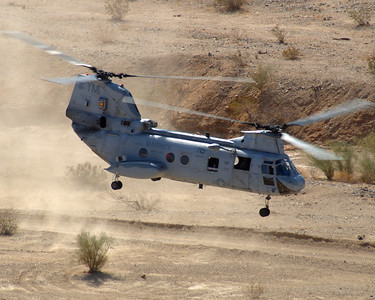 CH-46E Sea Knight lifts off from a landing zone in the Californa Desert during WTI 2-07