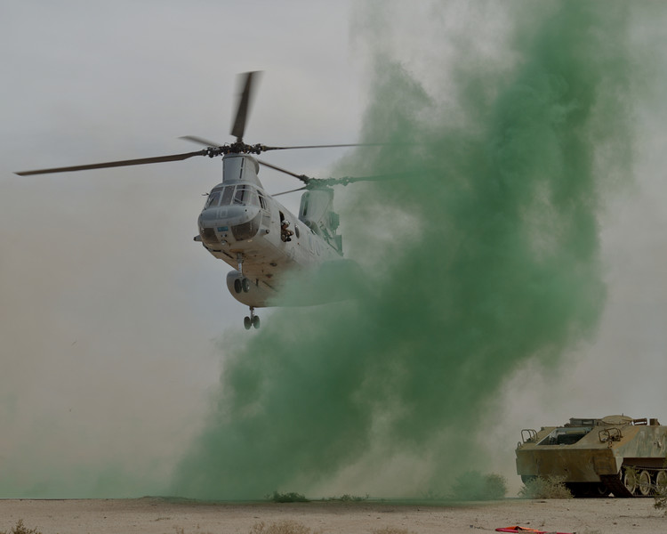 A CH-46 Sea Knight approaches a Landing Zone for a practice CASEVAC mission during WTI 2-07.