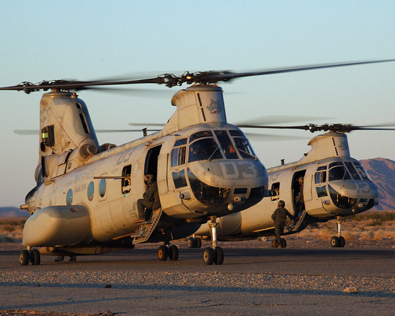 2 CH-46Es wait to load U.S. Marines during a Weapons and Tactics Instructor course.