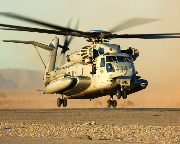 CH-53E landing at Aux-2 airfield during a Weapons and Tactics Instructor course in April 2006.